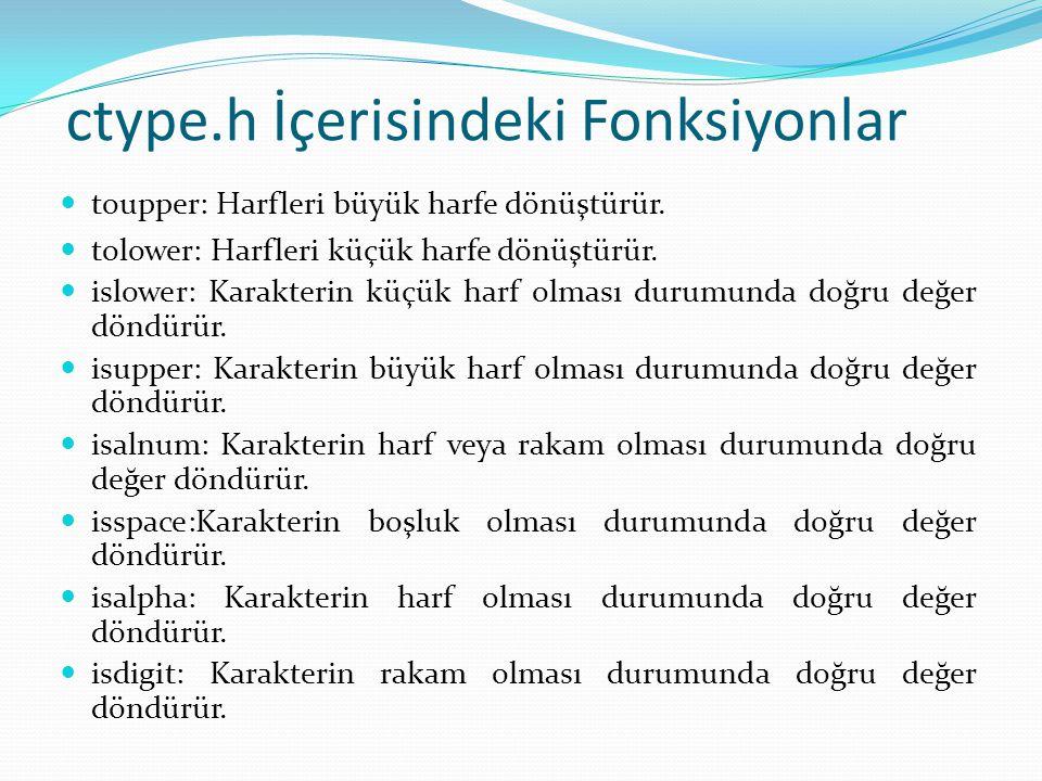ctype.h İçerisindeki Fonksiyonlar toupper: Harfleri büyük harfe dönüştürür.