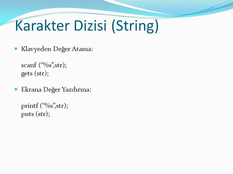 Karakter Dizisi (String) Klavyeden Değer Atama: scanf ( %s ,str); gets (str); Ekrana Değer Yazdırma: printf ( %s ,str); puts (str);