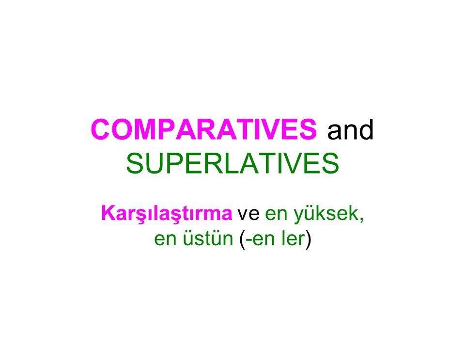 COMPARATIVES and SUPERLATIVES Karşılaştırma ve en yüksek, en üstün (-en ler)