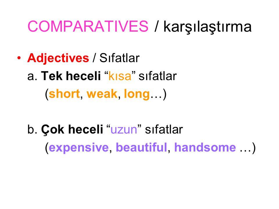 E x a m p l e Short kısa shortER DAHA kısa shortER THAN -DEN daha kısa Berkan is shorter than Kadir.