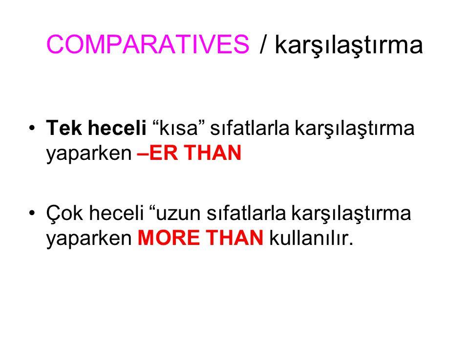 Comparatives / karşılaştırma Tek heceli sıfatlar; Small küçük Weak güçsüz, zayıf Long uzun Old yaşlı Fast hızlı SmallER DAHA küçük WeakER DAHA güçsüz LongER DAHA uzun oldER DAHA yaşlı FastER DAHA hızlı