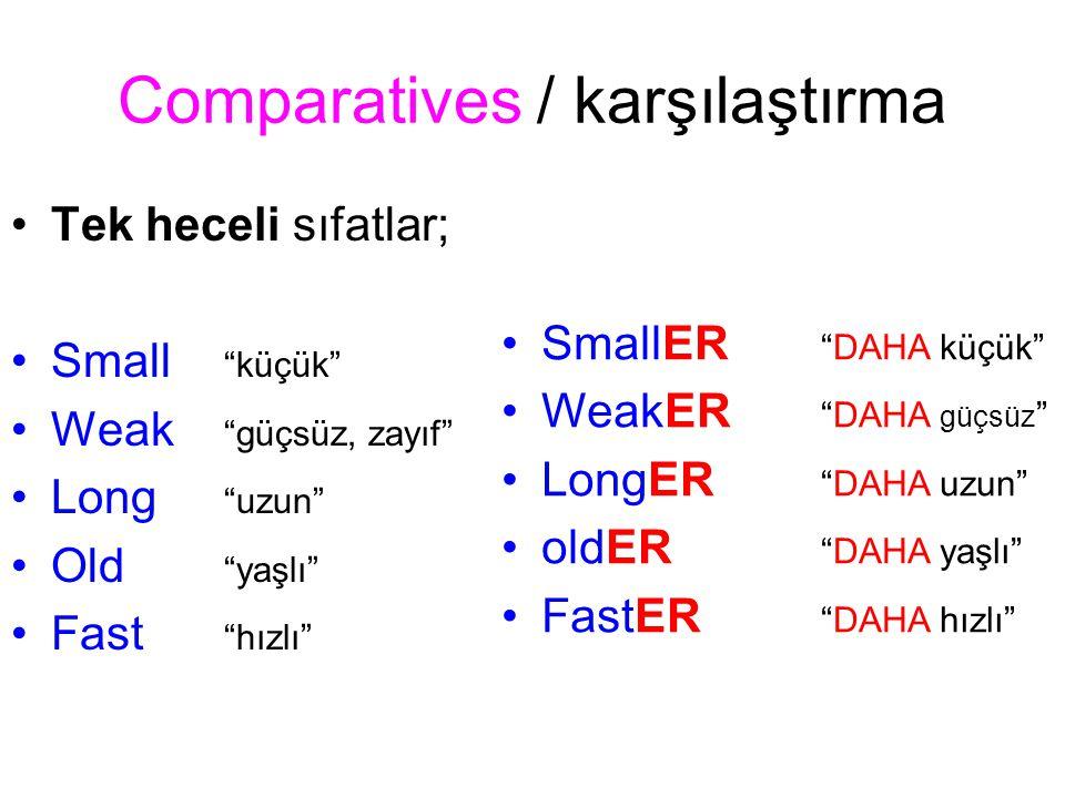 Comparative / karşılaştırma Eğer TEK HECELİ sıfat –e ile bitiyorsa sadece –R eklenir.