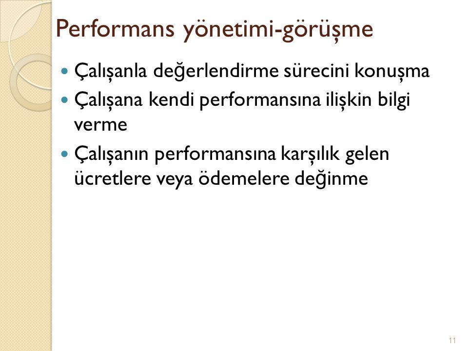 Performans yönetimi-görüşme Çalışanla de ğ erlendirme sürecini konuşma Çalışana kendi performansına ilişkin bilgi verme Çalışanın performansına karşıl