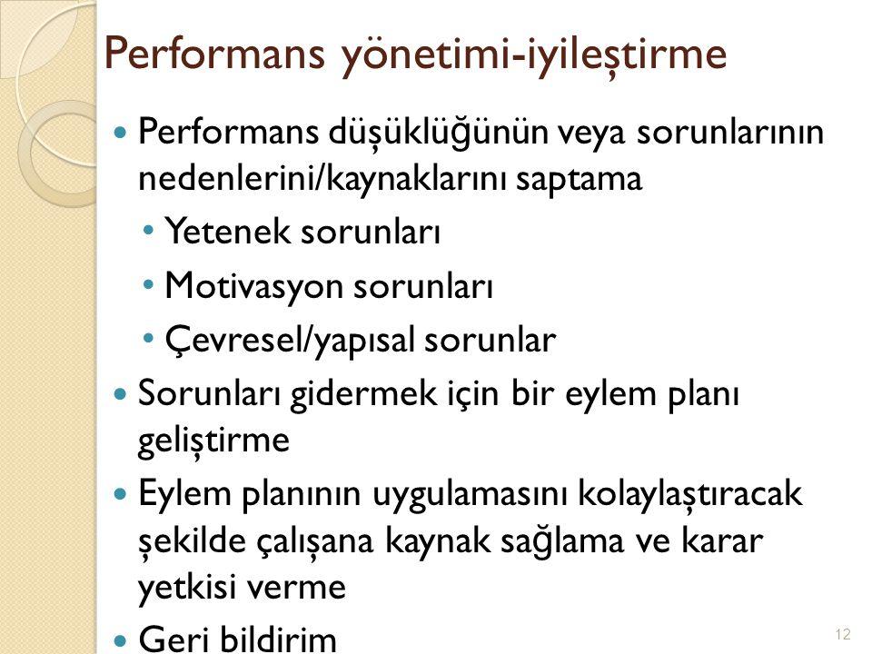 Performans yönetimi-iyileştirme Performans düşüklü ğ ünün veya sorunlarının nedenlerini/kaynaklarını saptama Yetenek sorunları Motivasyon sorunları Çe