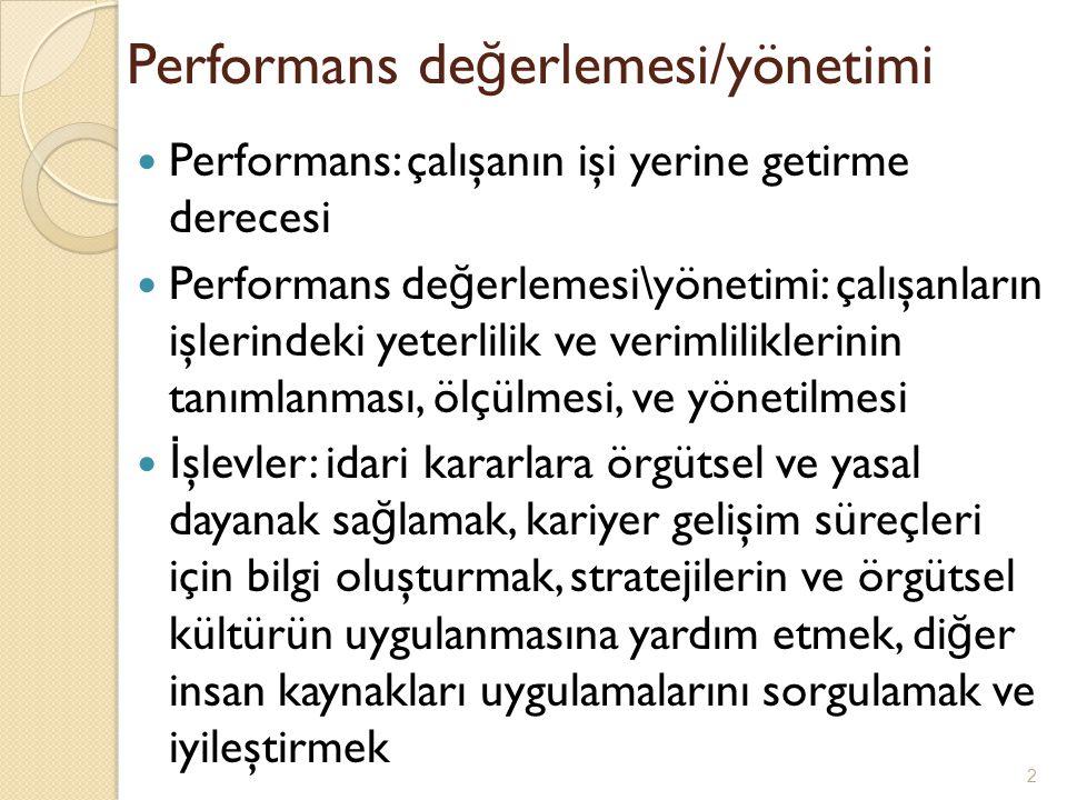 Performans ölçütlerini tanımlama Performansın ölçülece ğ i boyutların veya işin boyutlarının belirlenmesi İ ş analizi ve tanımı Olası sorunlar: çok boyutluluk, de ğ işken boyutlar, eksik boyutlar, ilgisiz boyutlar 3