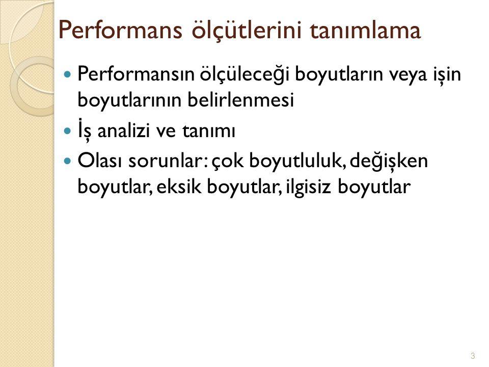 Performans ölçütlerini tanımlama Performansın ölçülece ğ i boyutların veya işin boyutlarının belirlenmesi İ ş analizi ve tanımı Olası sorunlar: çok bo