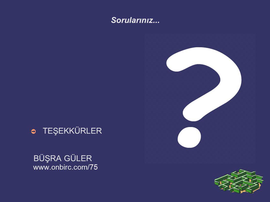 Sorularınız... ➲ TEŞEKKÜRLER BÜŞRA GÜLER www.onbirc.com/75