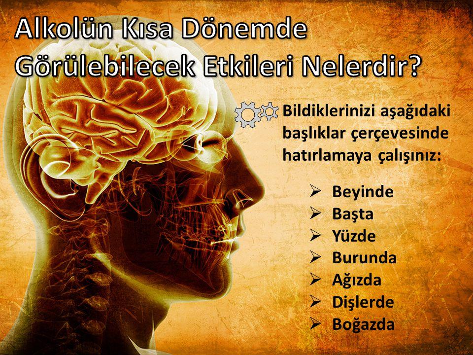  Beyinde: Mantıklı düşünme, karar verme ve hareket etme yeteneklerinde bozulma  Başta: Baş ağrısı  Yüzde: Damarlarda genişleme ve yüze daha fazla kan gelmesi, bu sebeple de yüzde kızarıklık ve şişkinlikler  Burunda: Koku alma duyusunda azalma, burun kanamaları  Ağızda: Ağız kuruluğu, tat alma duyusunda bozulma, ağız kokusu, ağız içi enfeksiyonlar  Dişlerde: Çeşitli diş eti hastalıkları  Boğazda: Öksürük, zamanla ses telleri üzerinde tahribat  Beyinde: Mantıklı düşünme, karar verme ve hareket etme yeteneklerinde bozulma  Başta: Baş ağrısı  Yüzde: Damarlarda genişleme ve yüze daha fazla kan gelmesi, bu sebeple de yüzde kızarıklık ve şişkinlikler  Burunda: Koku alma duyusunda azalma, burun kanamaları  Ağızda: Ağız kuruluğu, tat alma duyusunda bozulma, ağız kokusu, ağız içi enfeksiyonlar  Dişlerde: Çeşitli diş eti hastalıkları  Boğazda: Öksürük, zamanla ses telleri üzerinde tahribat