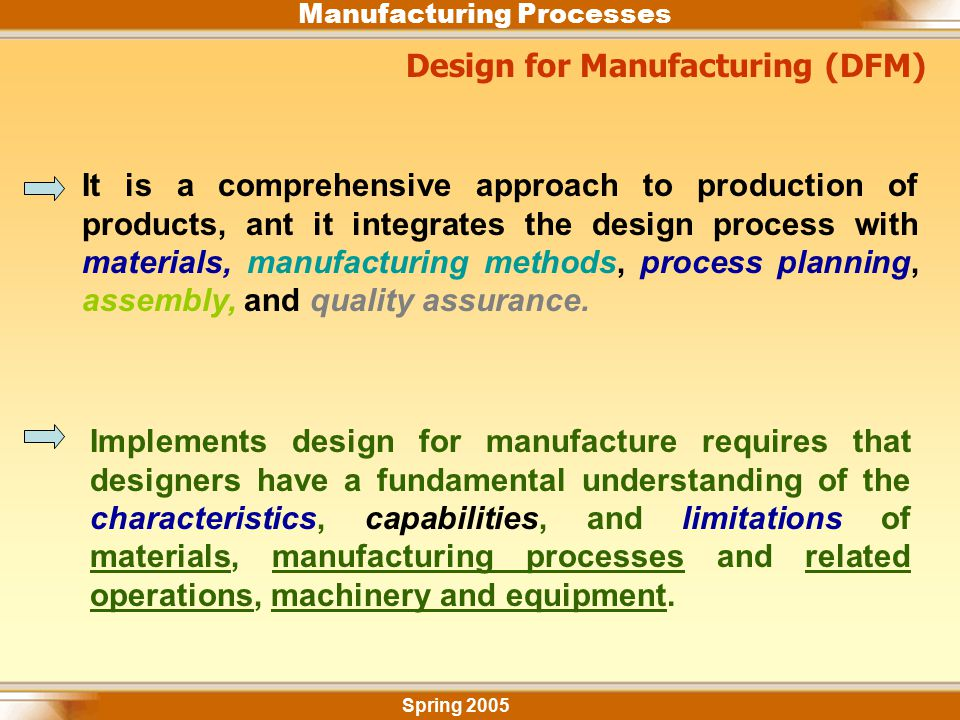 Manufacturing Processes Spring 2005 Design for Manufacturing (DFM) It is a comprehensive approach to production of products, ant it integrates the des