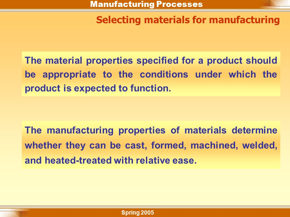 Manufacturing Processes Selecting materials for manufacturing The material properties specified for a product should be appropriate to the conditions