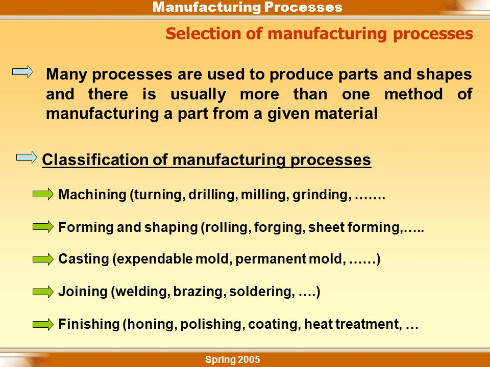Manufacturing Processes Selection of manufacturing processes Spring 2005 Many processes are used to produce parts and shapes and there is usually more