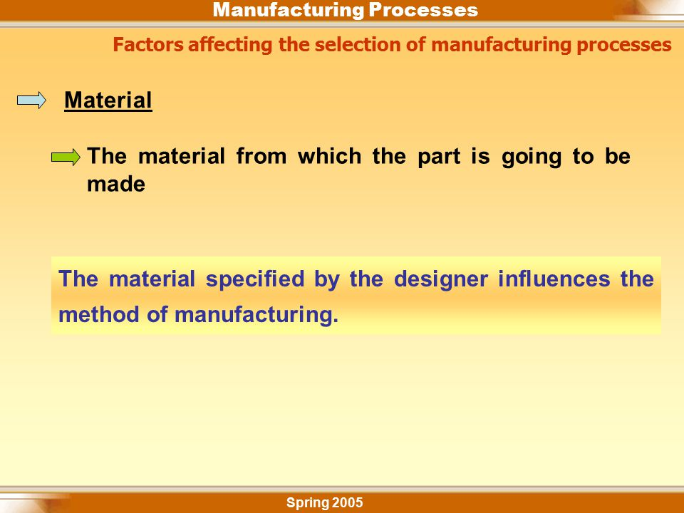 Manufacturing Processes Factors affecting the selection of manufacturing processes Spring 2005 Material The material from which the part is going to b