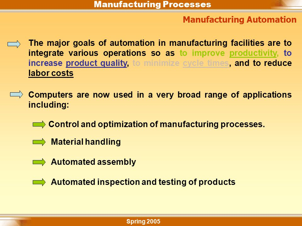 Manufacturing Processes Manufacturing Automation Spring 2005 The major goals of automation in manufacturing facilities are to integrate various operat
