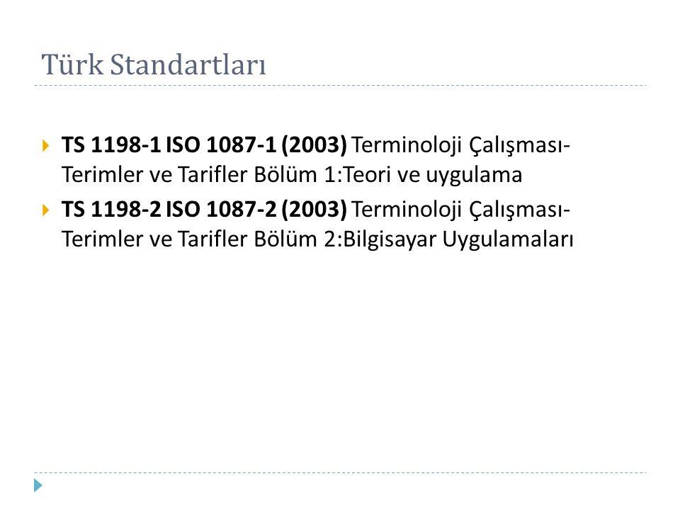 Türk Standartları  TS 1198-1 ISO 1087-1 (2003) Terminoloji Çalışması- Terimler ve Tarifler Bölüm 1:Teori ve uygulama  TS 1198-2 ISO 1087-2 (2003) Te