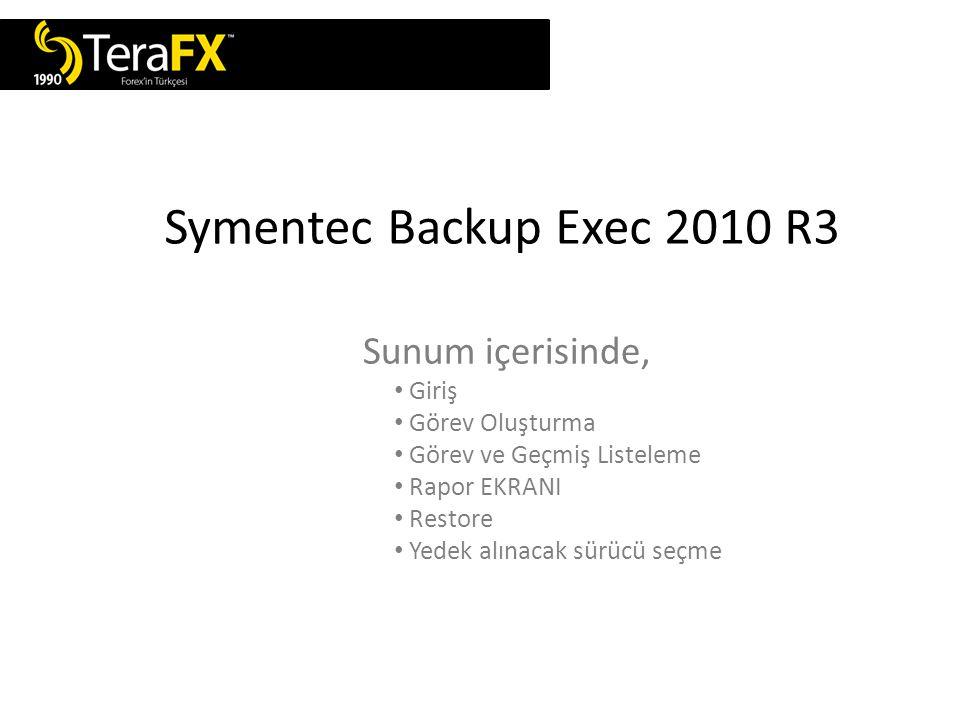 Symentec Backup Exec 192.168.0.200 Symentec Backup makinasına giriş yapılıp, program açılır.
