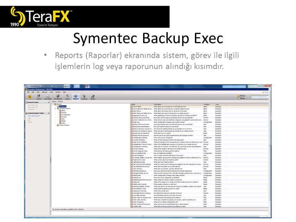 Symentec Backup Exec Devices (Sürücü) ekranında yedek alınacak sürücünün seçilmesini sağlayan kısımdır.