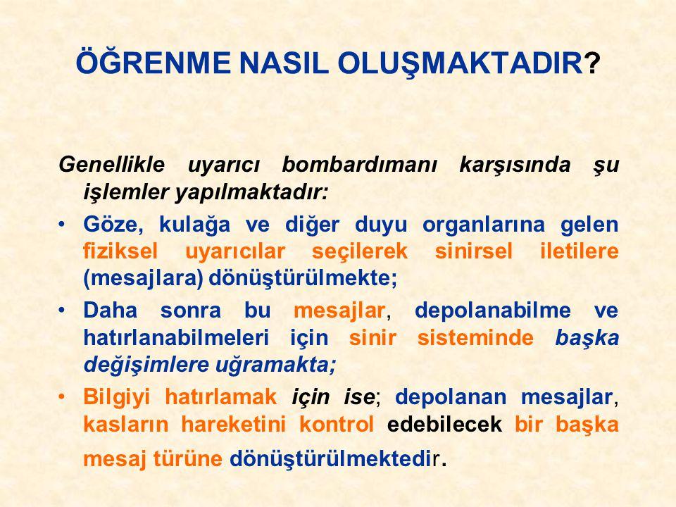 ÖĞRENMENİN OLUŞUMU Prof. Dr. Nuray SENEMOĞLU S.D.Ü. Eğitim Fakültesi Dekanı