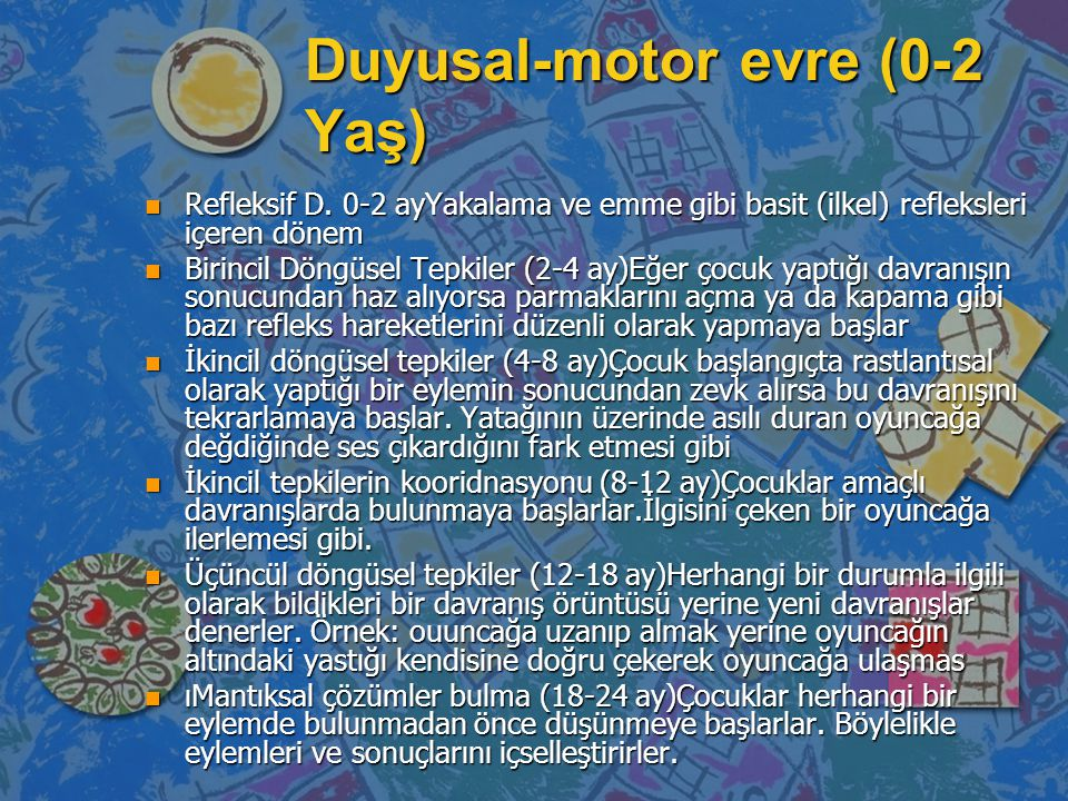 Duyusal motor evre n refleksler n Birincil döngüsel tepkiler n İkincil döngüsel tepkiler n İkincil şemaların koordinasyonu n Üçüncül döngüsel tepkiler