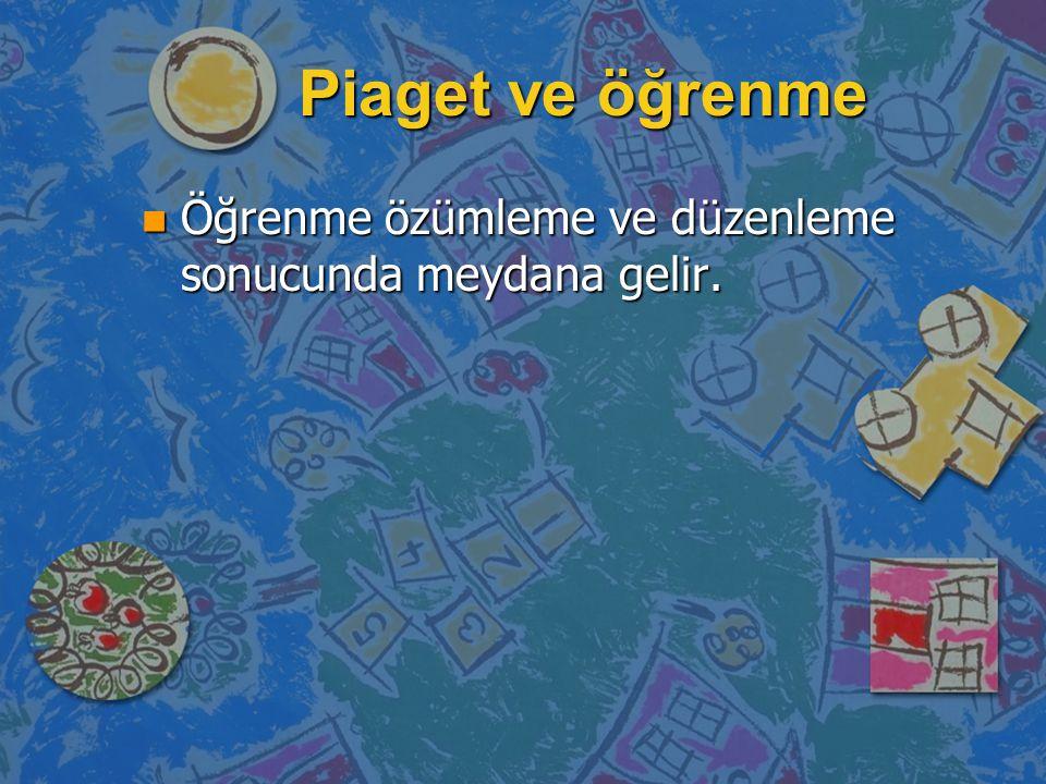 Piaget ve öğrenme n Öğrenme özümleme ve düzenleme sonucunda meydana gelir.