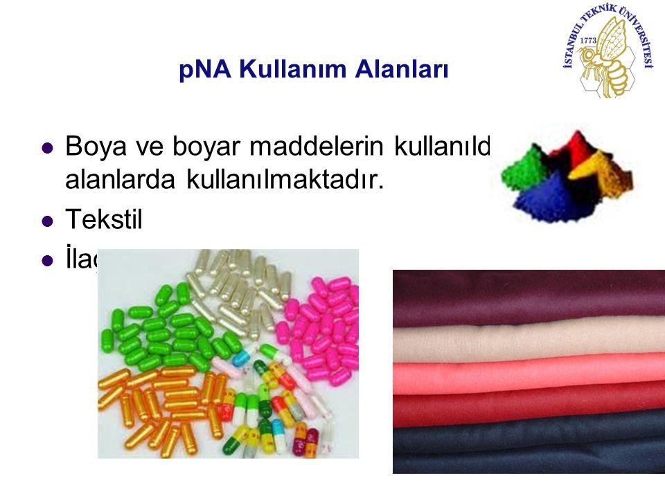 pNA Kullanım Alanları Boya ve boyar maddelerin kullanıldığı tüm alanlarda kullanılmaktadır. Tekstil İlaç