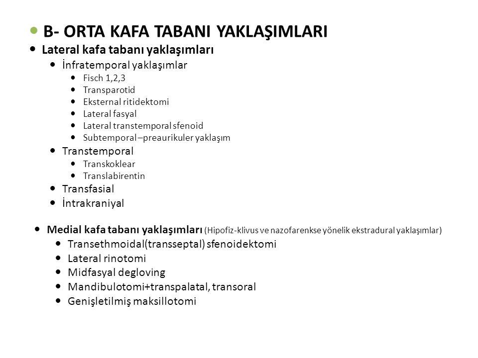 B- ORTA KAFA TABANI YAKLAŞIMLARI Lateral kafa tabanı yaklaşımları İnfratemporal yaklaşımlar Fisch 1,2,3 Transparotid Eksternal ritidektomi Lateral fasyal Lateral transtemporal sfenoid Subtemporal –preaurikuler yaklaşım Transtemporal Transkoklear Translabirentin Transfasial İntrakraniyal Medial kafa tabanı yaklaşımları (Hipofiz-klivus ve nazofarenkse yönelik ekstradural yaklaşımlar) Transethmoidal(transseptal) sfenoidektomi Lateral rinotomi Midfasyal degloving Mandibulotomi+transpalatal, transoral Genişletilmiş maksillotomi