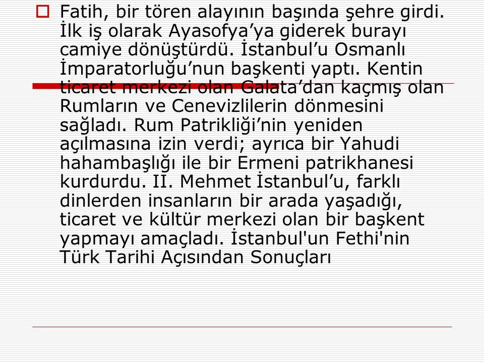  23 Mart 1453'te Edirne'den hareket etti ve 6 Nisan 1453'te İstanbul'u kuşattı. Kuşatma, aralıklı çatışmalarla 53 gün sürdü. II. Mehmet, Çandarlı Hal