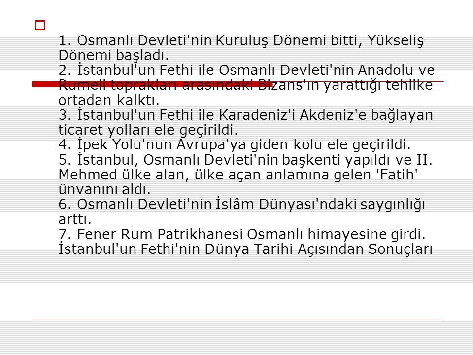  Fatih, bir tören alayının başında şehre girdi. İlk iş olarak Ayasofya'ya giderek burayı camiye dönüştürdü. İstanbul'u Osmanlı İmparatorluğu'nun başk