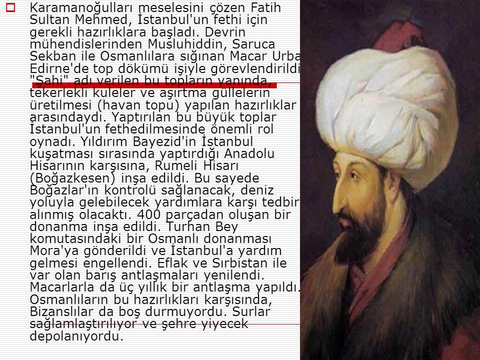  Fatih Sultan Mehmed padişah, olduktan sonra ilk iş olarak, devamlı ayaklanma çıkaran Karamanoğlu Beyliğine karşı sefere çıktı. Karamanoğlu İbrahim B