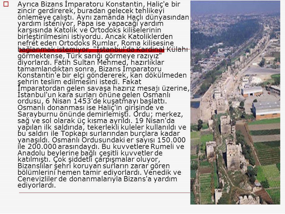  Karamanoğulları meselesini çözen Fatih Sultan Mehmed, İstanbul'un fethi için gerekli hazırlıklara başladı. Devrin mühendislerinden Musluhiddin, Saru