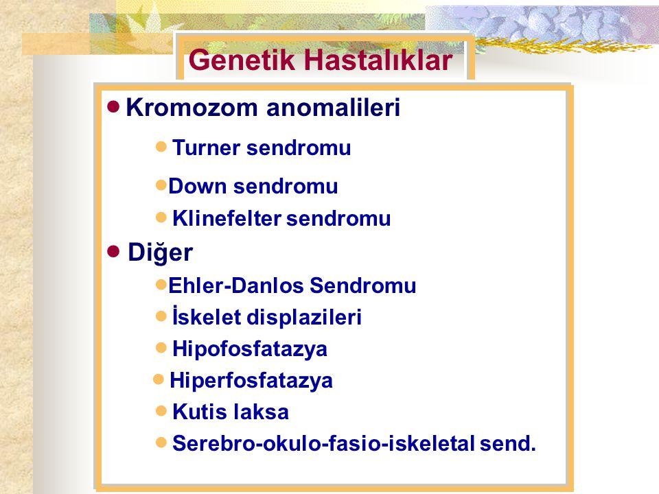 Genetik Hastalıklar  Kromozom anomalileri  Turner sendromu  Down sendromu  Klinefelter sendromu  Diğer  Ehler-Danlos Sendromu  İskelet displazileri  Hipofosfatazya  Hiperfosfatazya  Kutis laksa  Serebro-okulo-fasio-iskeletal send.