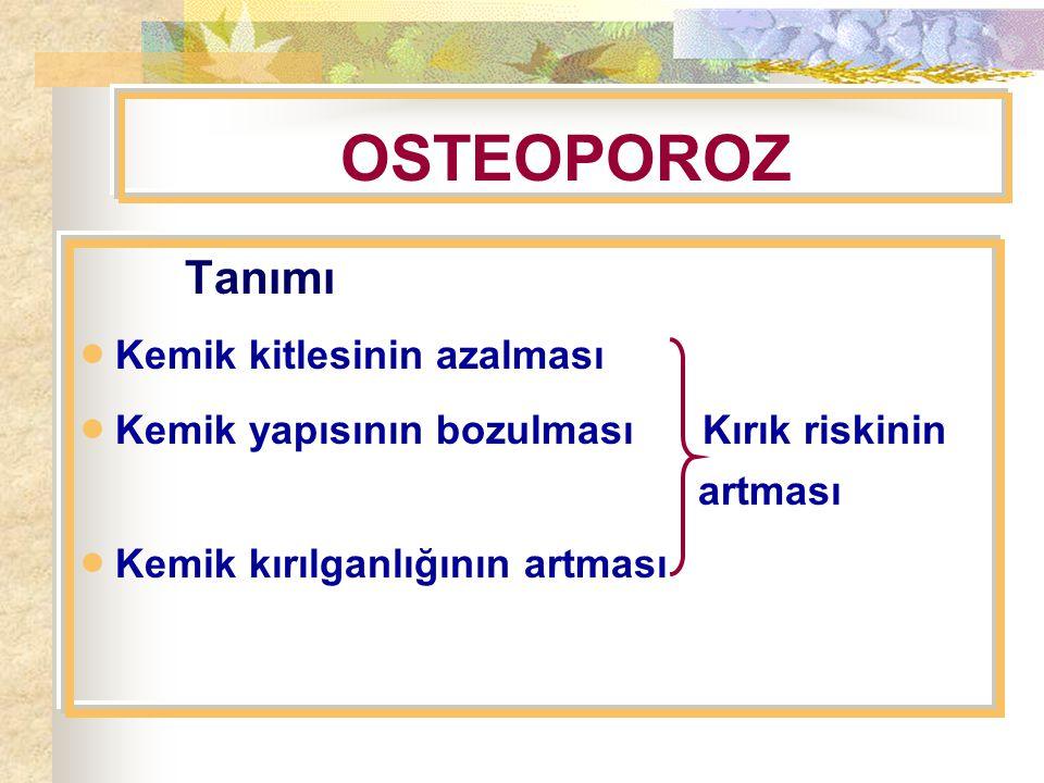 OSTEOPOROZ Tanımı  Kemik kitlesinin azalması  Kemik yapısının bozulması Kırık riskinin artması  Kemik kırılganlığının artması