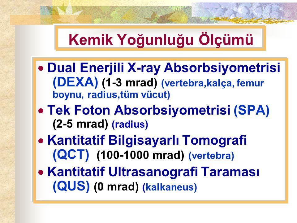 Kemik Yoğunluğu Ölçümü  Dual Enerjili X-ray Absorbsiyometrisi (DEXA) (1-3 mrad) (vertebra,kalça, femur boynu, radius,tüm vücut)  Tek Foton Absorbsiyometrisi (SPA) (2-5 mrad) (radius)  Kantitatif Bilgisayarlı Tomografi (QCT) (100-1000 mrad) (vertebra)  Kantitatif Ultrasanografi Taraması (QUS) (0 mrad) (kalkaneus)