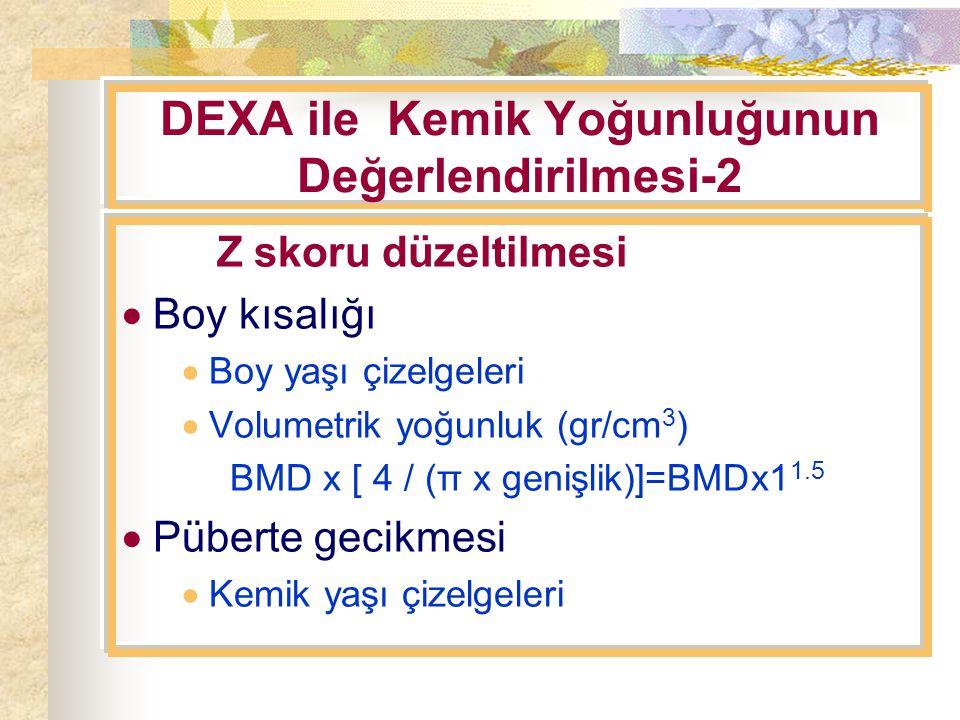 DEXA ile Kemik Yoğunluğunun Değerlendirilmesi-2 Z skoru düzeltilmesi  Boy kısalığı  Boy yaşı çizelgeleri  Volumetrik yoğunluk (gr/cm 3 ) BMD x [ 4 / (π x genişlik)]=BMDx1 1.5  Püberte gecikmesi  Kemik yaşı çizelgeleri
