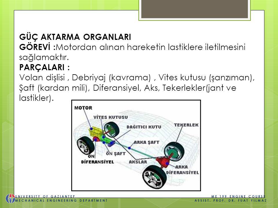 GÜÇ AKTARMA ORGANLARI GÖREVİ : Motordan alınan hareketin lastiklere iletilmesini sağlamaktır. PARÇALARI : Volan dişlisi, Debriyaj (kavrama), Vites kut