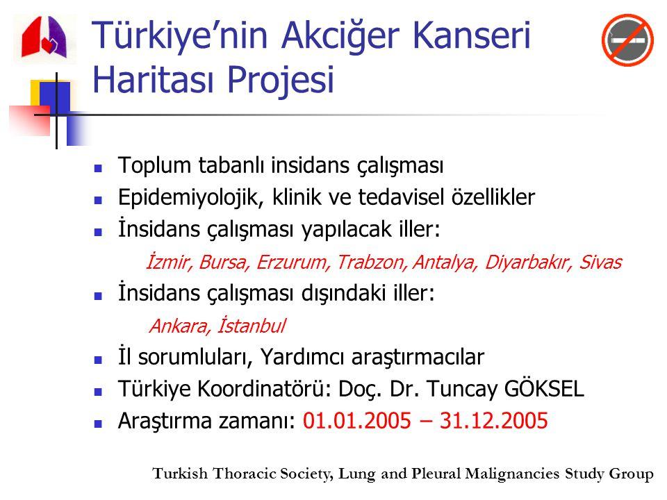 Türkiye'nin Akciğer Kanseri Haritası Projesi Toplum tabanlı insidans çalışması Epidemiyolojik, klinik ve tedavisel özellikler İnsidans çalışması yapıl