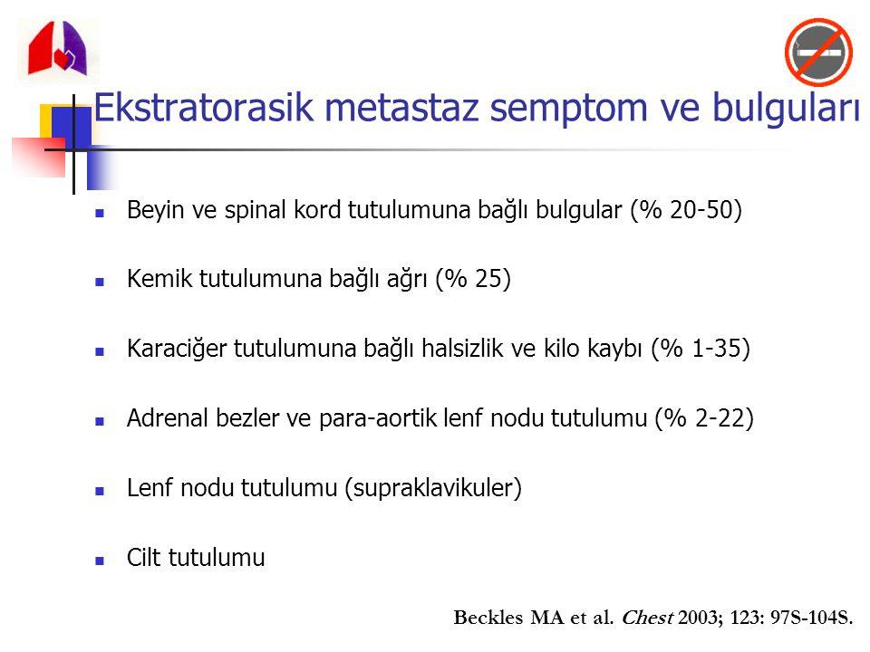 Ekstratorasik metastaz semptom ve bulguları Beyin ve spinal kord tutulumuna bağlı bulgular (% 20-50) Kemik tutulumuna bağlı ağrı (% 25) Karaciğer tutu