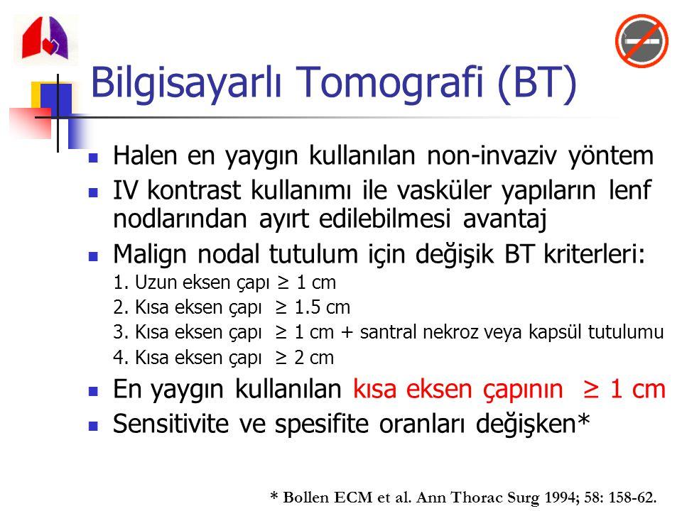 Bilgisayarlı Tomografi (BT) Halen en yaygın kullanılan non-invaziv yöntem IV kontrast kullanımı ile vasküler yapıların lenf nodlarından ayırt edilebil
