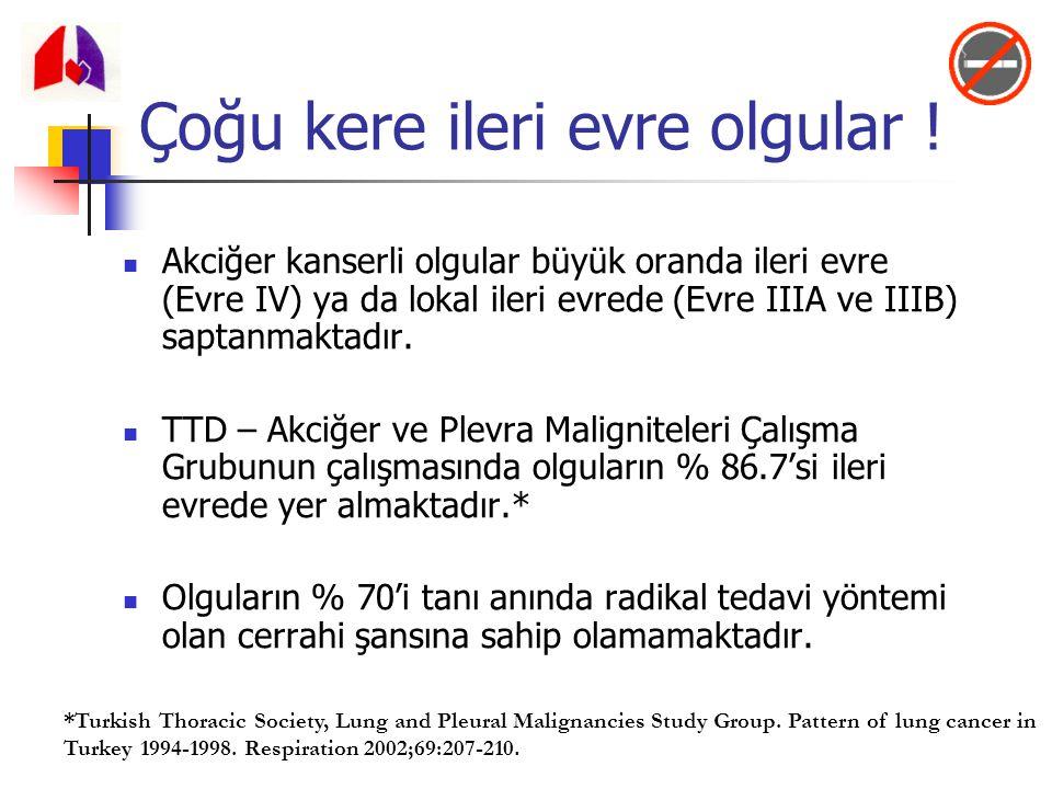 Akciğer kanserli olgular büyük oranda ileri evre (Evre IV) ya da lokal ileri evrede (Evre IIIA ve IIIB) saptanmaktadır. TTD – Akciğer ve Plevra Malign