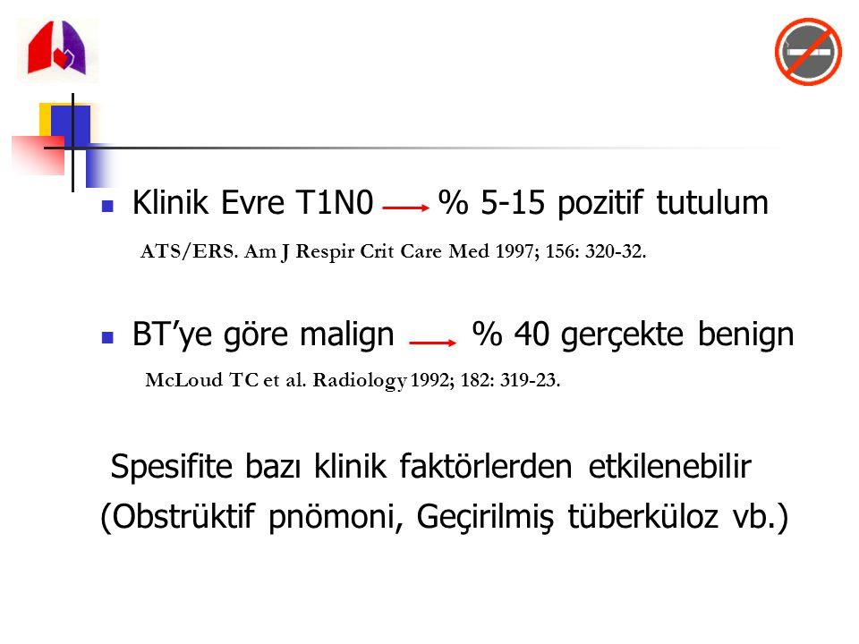 Klinik Evre T1N0 % 5-15 pozitif tutulum BT'ye göre malign % 40 gerçekte benign Spesifite bazı klinik faktörlerden etkilenebilir (Obstrüktif pnömoni, G