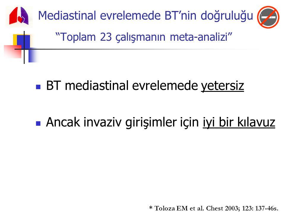 BT mediastinal evrelemede yetersiz Ancak invaziv girişimler için iyi bir kılavuz * Toloza EM et al. Chest 2003; 123: 137-46s. Mediastinal evrelemede B