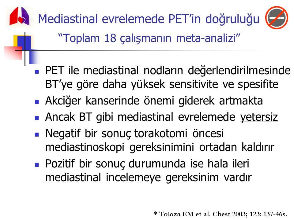 """Mediastinal evrelemede PET'in doğruluğu """"Toplam 18 çalışmanın meta-analizi"""" PET ile mediastinal nodların değerlendirilmesinde BT'ye göre daha yüksek s"""