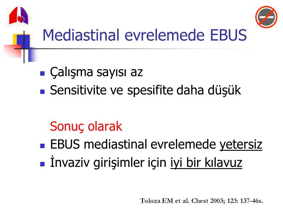 Çalışma sayısı az Sensitivite ve spesifite daha düşük Sonuç olarak EBUS mediastinal evrelemede yetersiz İnvaziv girişimler için iyi bir kılavuz Toloza