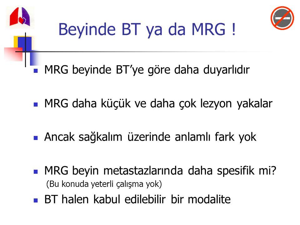 MRG beyinde BT'ye göre daha duyarlıdır MRG daha küçük ve daha çok lezyon yakalar Ancak sağkalım üzerinde anlamlı fark yok MRG beyin metastazlarında da