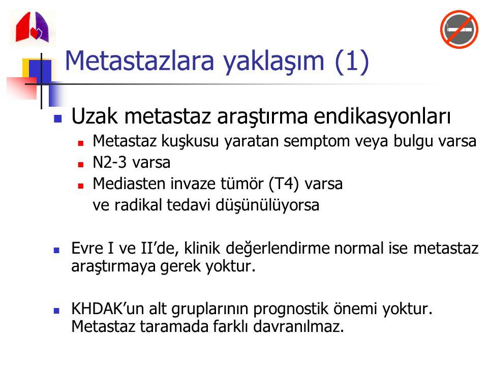 Metastazlara yaklaşım (1) Uzak metastaz araştırma endikasyonları Metastaz kuşkusu yaratan semptom veya bulgu varsa N2-3 varsa Mediasten invaze tümör (