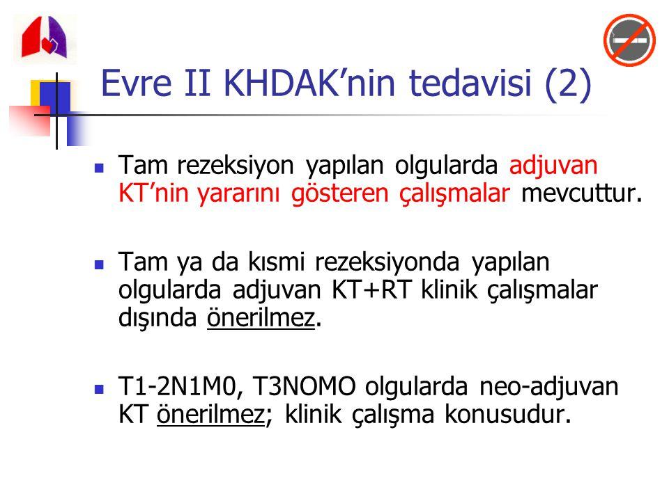 Tam rezeksiyon yapılan olgularda adjuvan KT'nin yararını gösteren çalışmalar mevcuttur. Tam ya da kısmi rezeksiyonda yapılan olgularda adjuvan KT+RT k