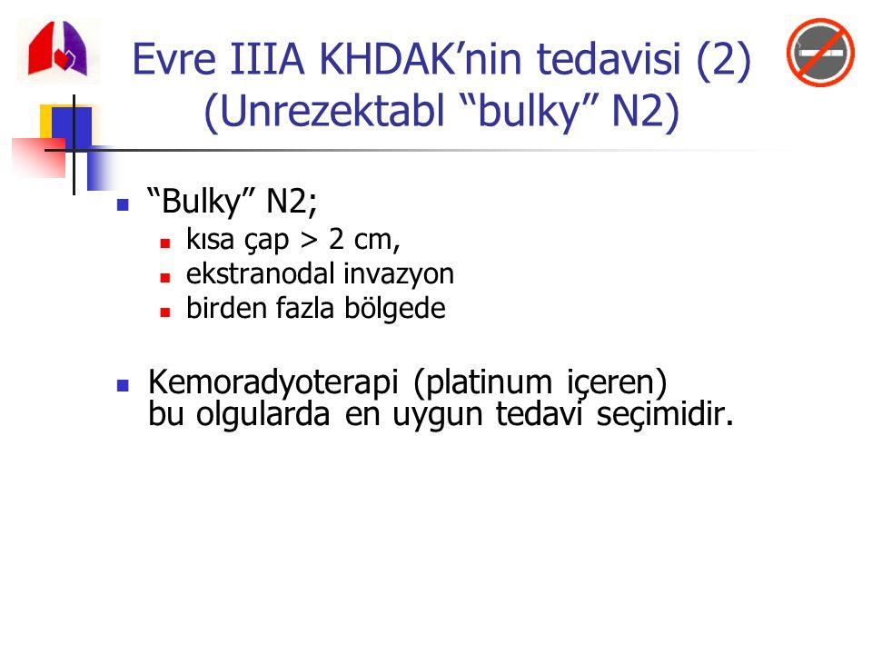 """""""Bulky"""" N2; kısa çap > 2 cm, ekstranodal invazyon birden fazla bölgede Kemoradyoterapi (platinum içeren) bu olgularda en uygun tedavi seçimidir. Evre"""