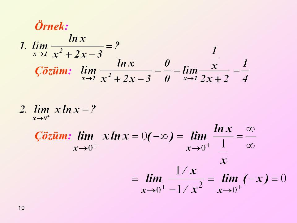 Örnek: Çözüm: 10