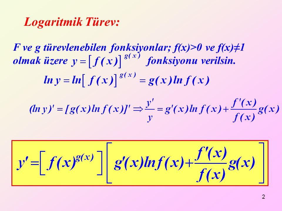 Logaritmik Türev: 2 F ve g türevlenebilen fonksiyonlar; f(x)>0 ve f(x)≠1 olmak üzere fonksiyonu verilsin.