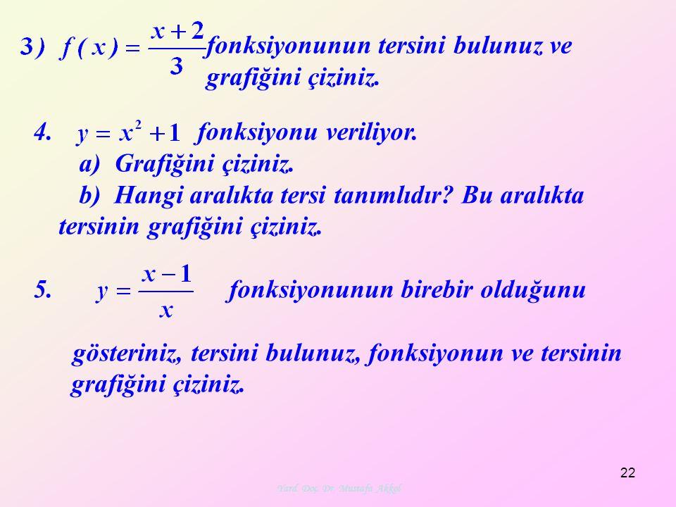 fonksiyonunun tersini bulunuz ve grafiğini çiziniz. 4. fonksiyonu veriliyor. a) Grafiğini çiziniz. b) Hangi aralıkta tersi tanımlıdır? Bu aralıkta ter
