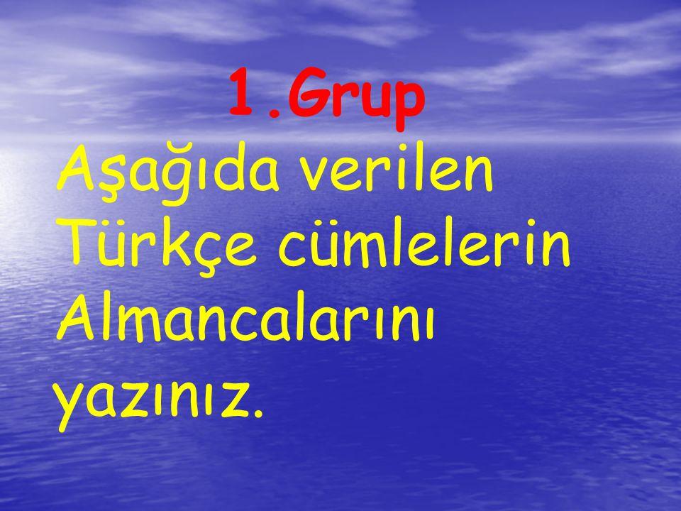 1.Grup Aşağıda verilen Türkçe cümlelerin Almancalarını yazınız.